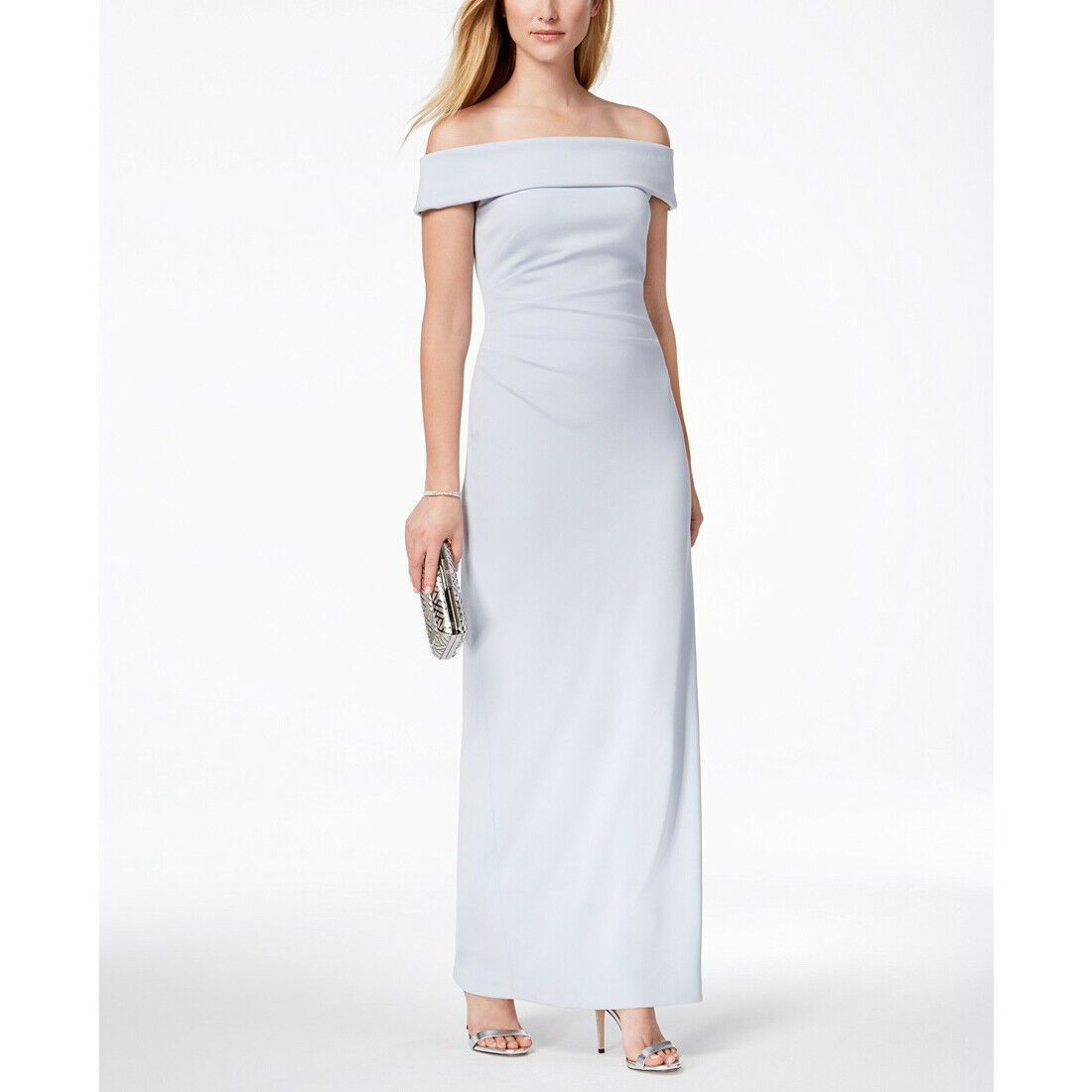 Vince Camuto Off-the-shoulder Gown, Light Blue, 14