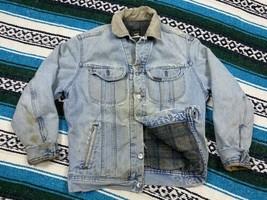 Lee Riveted Mens Denim Jean Jacket Grunge Blanket Lined USA Corduroy Dis... - $59.39