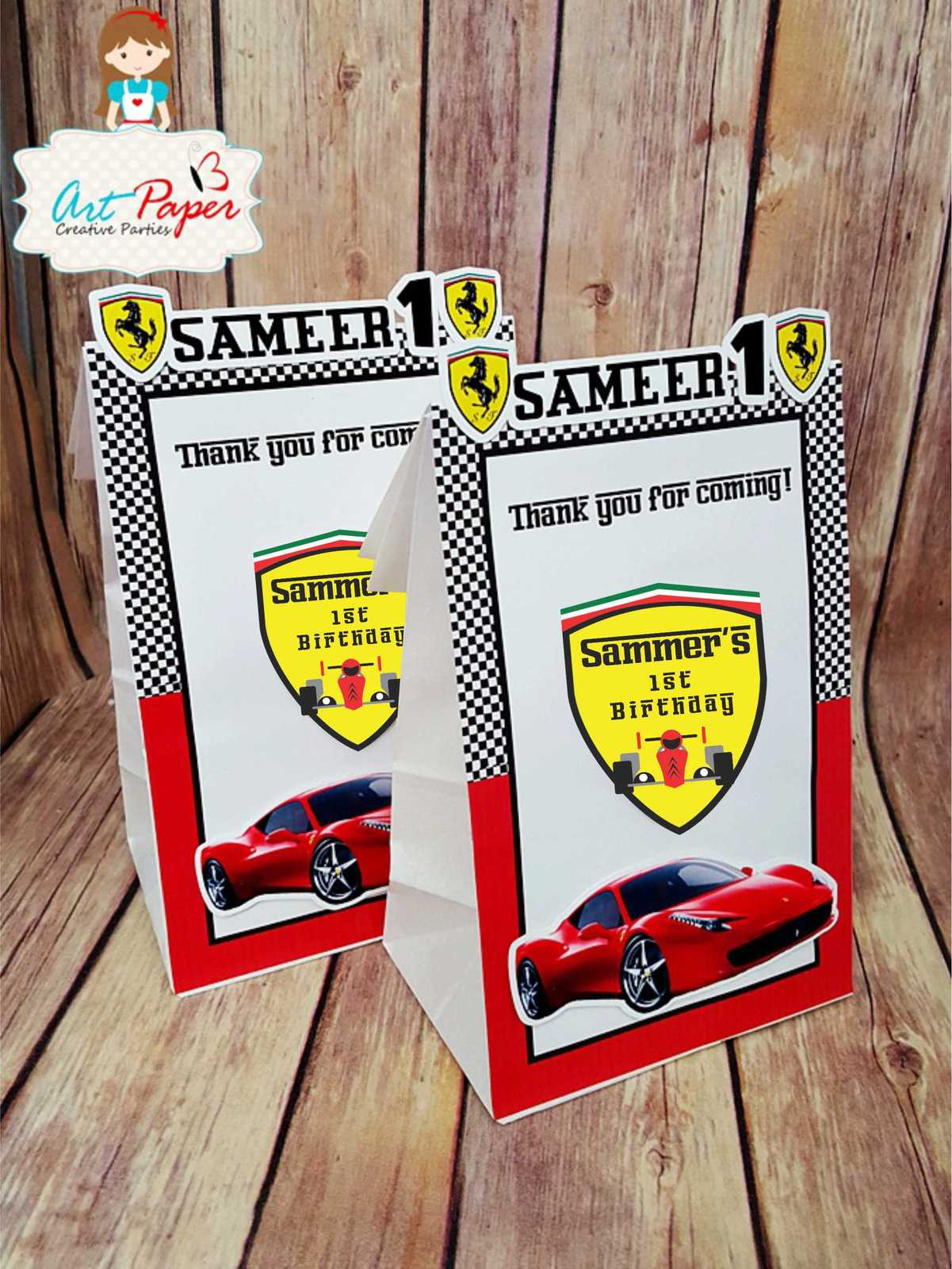 Personalized race Car Ferrari - Set of 10 - Personalized party favors. for sale  USA