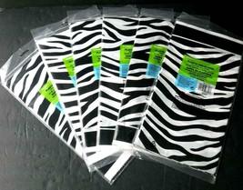 Lot of 6 Pc New Safari Theme Zebra Black & White Plastic Table Covers 54... - $22.00