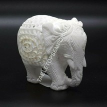 """4"""" Marble White Decorative Elephant Statue Handmade Collectible Christma... - $185.00"""