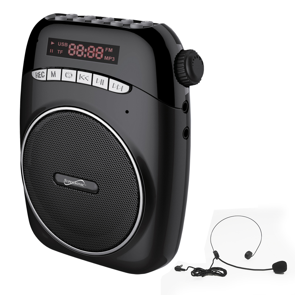 Supersonic Portable PA System With USB and Micto SD Card Slot in Black