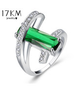 17KM® Design Hollow Crystal For Wedding Women Green Red Ring Anillos Eng... - $5.89