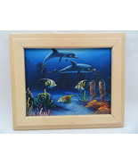 Dolphins Swimming Sea Life Corals & Angelfish ACRYLIC Original Painting ... - $60.00