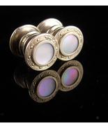Antique Cufflinks - haunted mother of pearl - snap cufflinks - silver tu... - $95.00