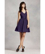 WHITE By Vera Wang Amethyst Purple V-neck Halter Fit & Flare Bridesmaid ... - $15.00