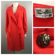 1960s Coral Coat / Virgin Wool Long Button Up Coat by Dalton / Women's M... - $69.00