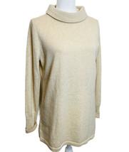 NWT Talbots Mock Neck Beige Gold Metallic Shimmer Cashmere Blend Pullove... - $36.63