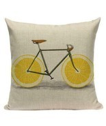 Lemon Fruit Wheel Bicycle Graphic Printed Accent Throw Pillow Cushion Co... - $49.49