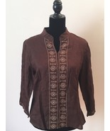 Saint Tropez West Brown Resort Linen Tunic with Gold Embroidery Size XL - $21.78