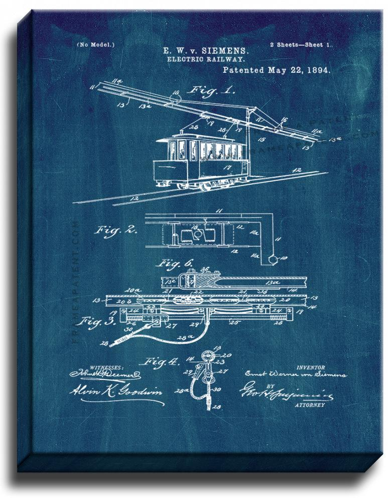Primary image for Electric Railway Patent Print Midnight Blue on Canvas