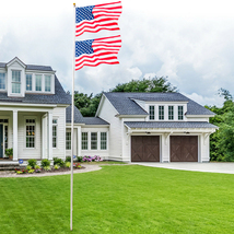 25ft Flag Solemn Outdoor  Sectional Halyard Pole US America Flagpole Kit - $89.99