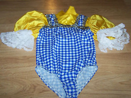 Child Size Small 4-5 Blue White Checked Plaid Dance Leotard Costume Dorothy - $25.00