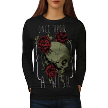 Once Upon A Wish Skull Tee Ghost Love Women Long Sleeve T-shirt - $14.99