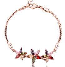 Color Zirconia Crystal Gold Plated Wedding Bridal Bangle Bracelet Jewelry - $7.99