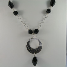 .925 SILVER RHODIUM NECKLACE, 16,54 In, HAMMERED DISC PENDANT, BLACK ONYX. image 1