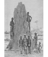 AFRICA Guinea Natives Huge Termite's Nest - Antique Print Engraving - $11.47