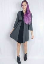 Anthropologie Ella Moss Bell Sleeve Knit Shirt Dress S Gray Black Colorb... - $9.50