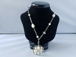 Monet Vintage Signed Fashion Necklace Faux Pearl Beads Pendant Chain - $30.12