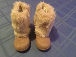 Girls Carters boots Size 7 beige khaki winter faux fur faux suede side z... - $22.99
