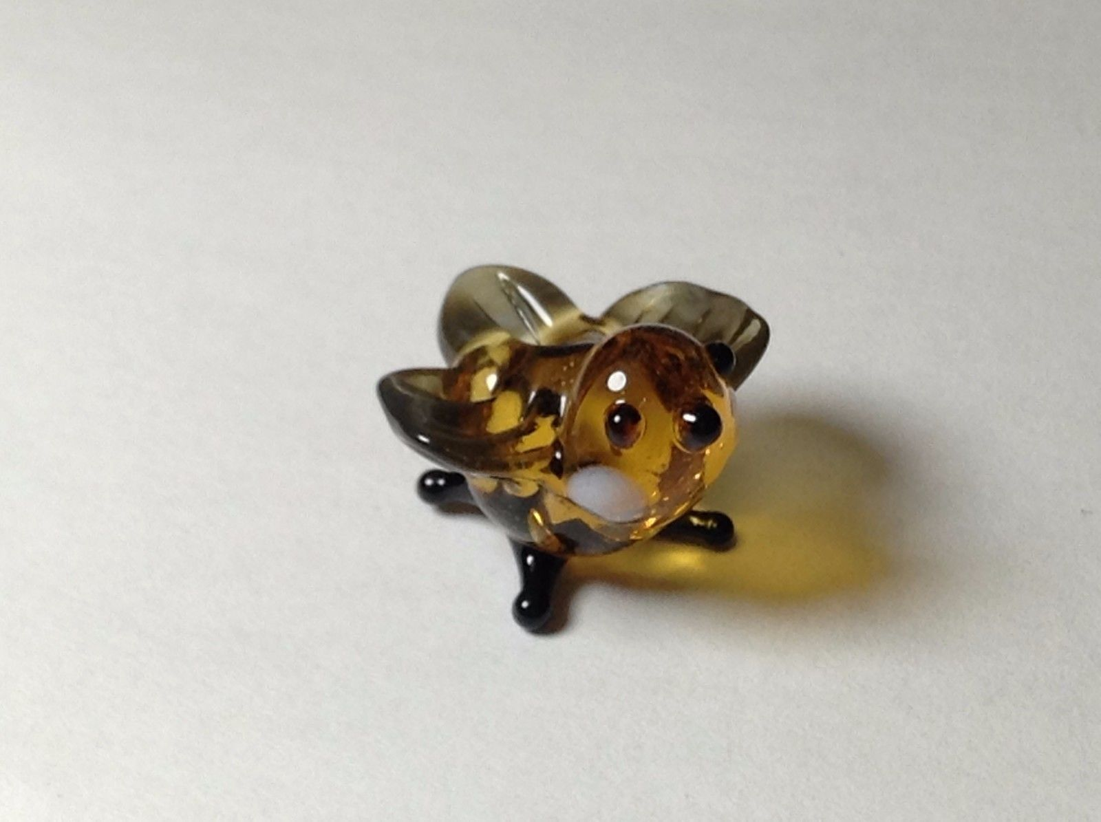 Miniature Glass Amber bird   Handmade Blown Glass Made USA