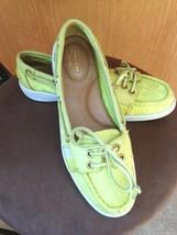 Women Coach Rainey Signature Canvas LOAFER/BOAT Shoe Sz 6.5M Neon Green - Euc - $34.64