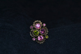 Vintage Gold Tone Rhinestone Cocktail Ring Sarah Coventry Retro Adjustable - $12.19
