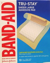 Band-Aid Tru-Stay Adhesive Pads Large Comfort Flex 2 7/8 x 4 Inches 10/Box - $5.44