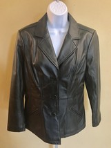 Denim & Co. Black Lambs Leather Women's Bottom Down Jacket Size Small - $24.91