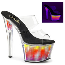 """PLEASER Sexy Double Band 7"""" Stripper Heels Shoes Simulated Rhinestone Platform - $44.95"""