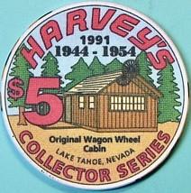 $5 Casino Chip. Harvey's, Lake Tahoe, NV. Collector Series 1991. O49. - $6.50