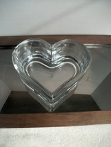 "VINTAGE CRYSTAL JEWELRY or TRINKET DISH Heart Shaped 5 1/4""  Wide  3"" Deep  - $19.75"