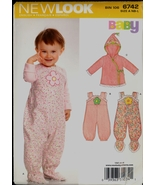 Uncut Infant Overalls Hoodie Feet New Look 6742 Size NB S M L Sewing Pat... - $5.99