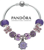 Authentic Pandora 925 Silver Bangle Bracelet with charms Purple Flower B... - $84.14