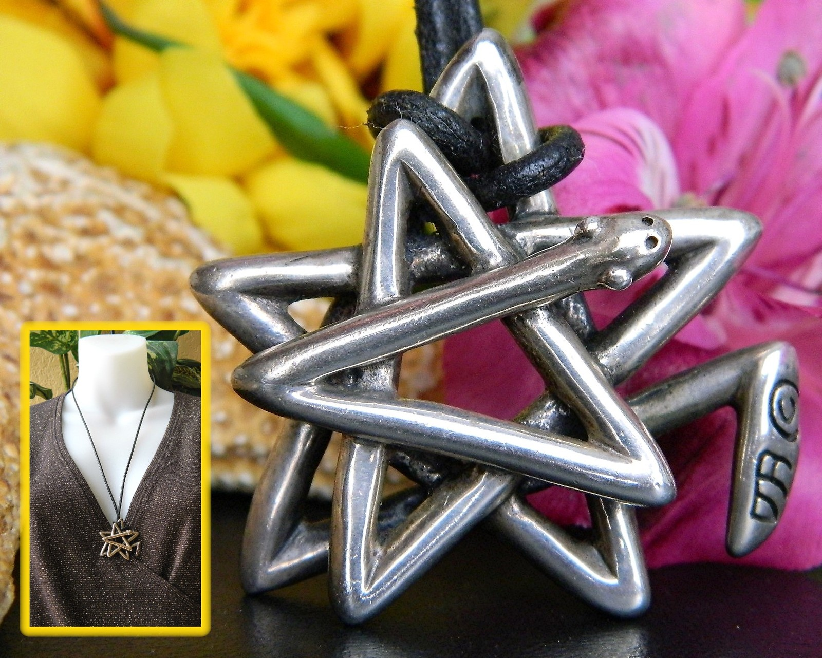 Star snake pendant necklace pentagram sterling silver douglas brett
