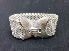 Crown Trifari Wide Chain Mesh Silver Tone  Bracelet Vintage Signed - $53.99