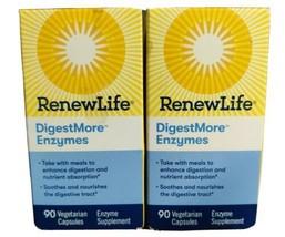 2 Renew Life Digest More Eynzymes 90 Vegetarian Capsules - 180 Total EXP... - $22.43
