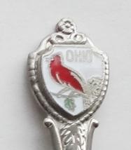 Collector Souvenir Spoon USA Ohio Cardinal State Bird Cloisonne Emblem - $2.99