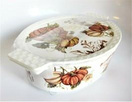 Grace Oven-Safe Lidded Baker Porcelain Casserole Dish 3-in-1 Trivet Tray Pumpkin - $37.61