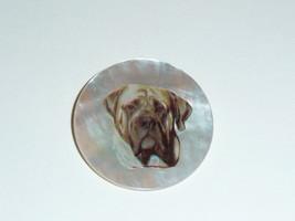 "Adorable Mastiff Dog on Mother of Pearl Shank Button  1-3/8"" Mastiff Dog - $11.99"