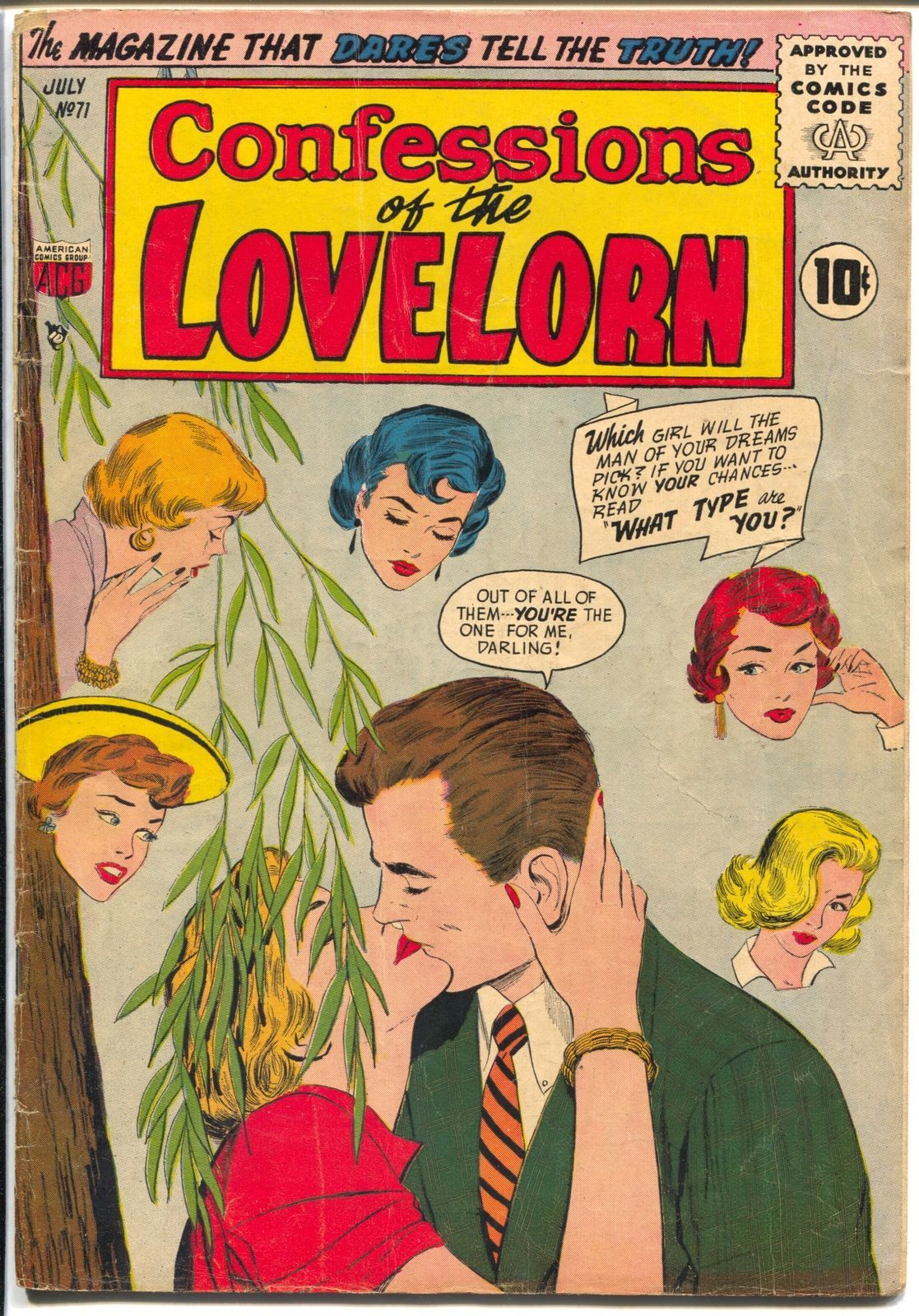 Confessions of The Lovelorn #71 1956-ACG- romance-spicy stories-Rare-VG+
