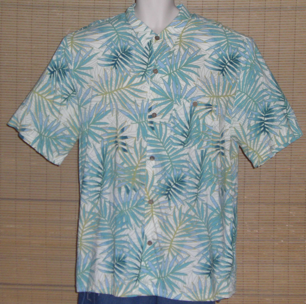 Primary image for Joe Marlin Hawaiian Shirt White Turquoise Blue Gold Palm Leaves Size XXL