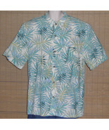 Joe Marlin Hawaiian Shirt White Turquoise Blue Gold Palm Leaves Size XXL - $23.99
