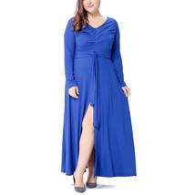 Women's Plus Size Ruched V Neck Maxi Dress - $29.99