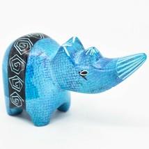 Crafts Caravan Soapstone Speckled Blue Rhinoceros Rhino Figurine Made Kenya - $12.86