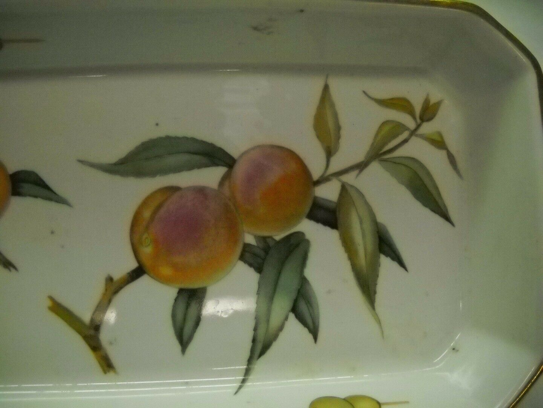 ROYAL WORCESTER Rectangular VEGATABLE Dish Painted PEACHES Olives ON EDGE