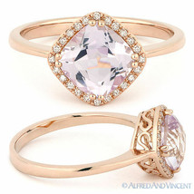 1.52ct Cushion Cut Pink Amethyst & Diamond Halo Engagement Ring in 14k R... - €366,04 EUR