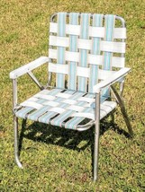 Vintage Aluminum Webbed Folding Lawn Chair Picnic Barbeque White Teal Gold - €26,45 EUR