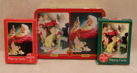 COCA COLA PLAYING  CARDS 2 DECKS IN CHRISTMAS COKE TIN - $8.90