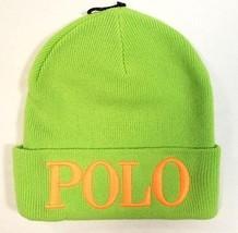 Polo Ralph Lauren Signature Green Wool Blend Cuff Knit Beanie Ski Cap Wo... - ₨4,166.81 INR